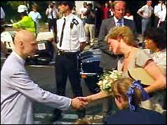 Princess Diana shaking hands with Jonathan Grimshaw