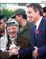 Yasser Arafat and Tony Blair meeting in 2001