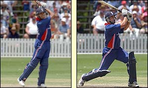 Ronnie Irani and Adam Hollioake hit sixes
