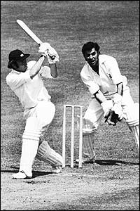 Keith Fletcher of England in action on his way to scoring 68 against India