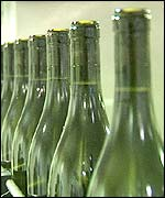 Wines bottles in production