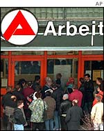 Queues form outside German job centres