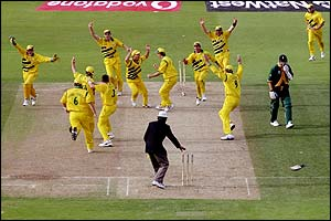Australia's players show their delight at reaching the World Cup final
