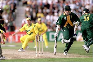 South Africa's Allan Donald and Lance Klusener get in a muddle as Klusener is run out