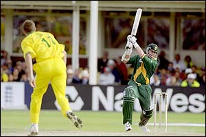 South Africa's Lance Klusener hits a cover drive