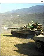 Russian tanks in Chechnya