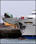 Luxury liner Norwegian Dream in port after collision