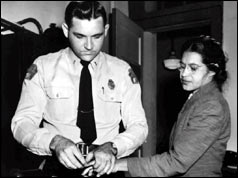 Rosa Parks being fingerprinted in Montgomery, Alabama for violating segregation laws (22/02/1956) - her refusal to move to the back of a bus sparked a bus boycott