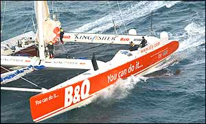 The Kingfisher 2 crew are hoping for the right weather conditions to launch their race challenge - Copyright Jacques Vapillon