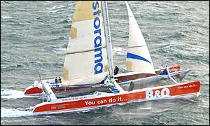 The race starts and finishes on a line between Lizard Point in England and Ushant in France - Copyright Jacques Vapillon