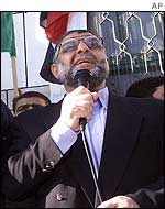 Abdel Aziz Rantissi addresses a Hamas demonstration in the Gaza Strip on Tuesday