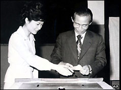 President Park Chung Hee and his daughter Park Geun-hye, 1977