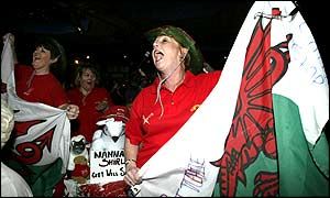 Welsh fans celebrating the success of Ritchie Davies