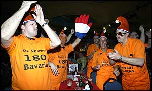 Dutch fans celebrating at the Lakeside