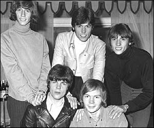 (l to r) Robin, Barry and Maurice Gibb with (front) Vince Melouney and Colin Petersen in 1967