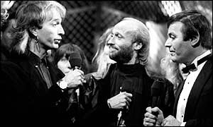 Robin Gibb, Maurice Gibb, and Tony Blackburn on Top of the Pops 1988