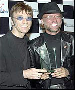 Robin (left) and Maurice Gibb in 2001