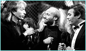 1988, on Top of The Pops with Tony Blackburn. The Bee Gees entered the Rock and Roll Hall of Fame