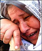 Palestinian mother at the funeral of her dead son