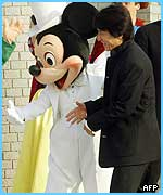 Mickey Mouse meets movie star Jackie Chan