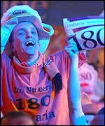 Dutch darts fans celebrate Barneveld's win