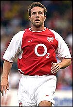 Matthew Upson in action for Arsenal during the Paul Fairclough Testimonial in July 2002