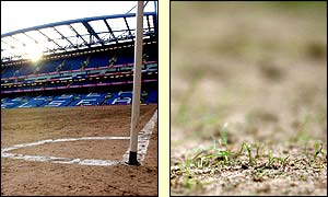 An empty Stamford Bridge shows just how bad the pitch has become, having very little grass left on it at all