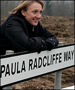 Paula Radcliffe at Paula Radcliffe Way, Bedford