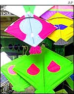 Kites displayed at an Indian stall