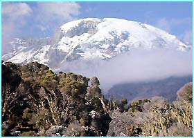 This is Mount Kilimanjaro in Tanzania, the highest mountain in Africa at 5,895 metres.