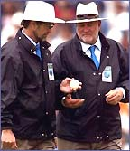 Umpires Peter Willey and Dave Orchard inspect a white ball