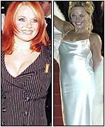 Geri as a buxom Spice Girl and as a slender solo artist