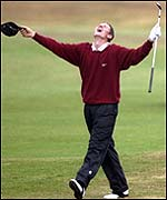 Justin Rose chips in at the 18th at Royal Birkdale in 1998