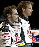 Jacques Villeneuve and Jenson Button during the launch of the BAR 005.