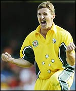 Brad Hogg celebrates a wicket for Australia