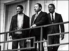 Rev. Martin Luther King Jr. (centre) on the balcony of the Lorraine Motel in Memphis, Tenn., the day before his assassination