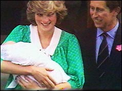 Princess Diana and Prince Charles with Prince William