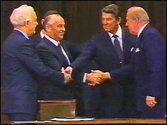 From left: Soviet foreign minister Shevardnaze, Mikhail Gorbachev, Ronald Reagan, US Sec of State Sculz