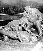 Mud wrestling action