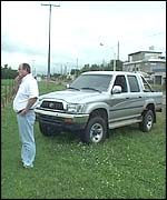Eduardo Boemo, director of Montes de Oca Cereales, with his pick-up