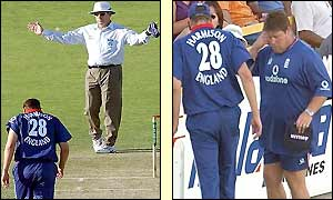 The umpire signals a wide from Steve Harmison who then leaves the field injured