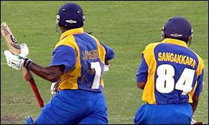 Santah Jayasuriya and Kumar Sangakkara collide which sees the captain run out