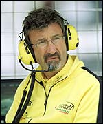 Eddie Jordan watches on from the pit lane