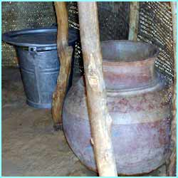 Here's some pots they use for cooking - but this is done outside!