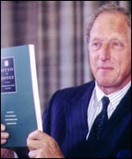 Lord Woolf with his report on the civil justice system
