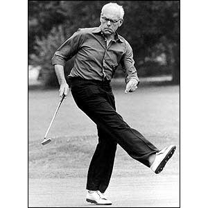 Denis Thatcher playing golf in 1985