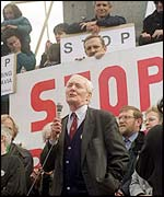 Tony Benn at an anti-war rally