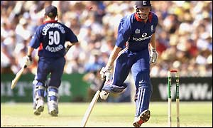 England's Matthew Hoggard is run out