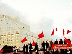 Pro-Communist demonstrators outside Russia's Parliament building in Moscow