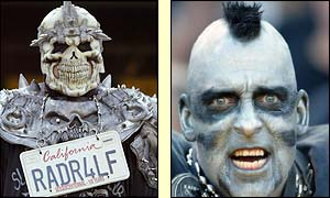 Raiders fans sport masks and make-up for the game